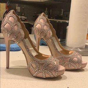 Pink crystal embellished heels